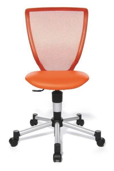 JUGENDDREHSTUHL Orange, Silberfarben - Silberfarben/Orange, Basics, Kunststoff/Textil (44/39-53/ST:40cm)