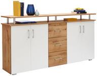 KOMMODE Weiß, Eichefarben  - Eichefarben/Silberfarben, KONVENTIONELL, Holzwerkstoff/Kunststoff (178/90/38cm) - Xora