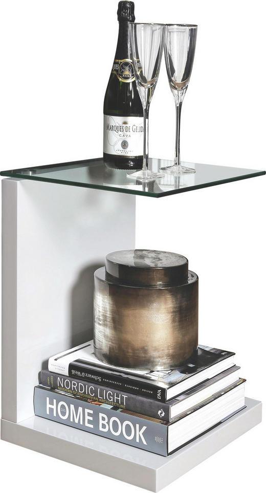 BEISTELLTISCH rechteckig Weiß - Weiß, Design, Glas/Holzwerkstoff (40/50/35cm) - Carryhome