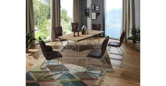 STUHL in Metall, Textil Edelstahlfarben, Dunkelbraun  - Edelstahlfarben/Dunkelbraun, Design, Textil/Metall (47/96/63,5cm) - Dieter Knoll