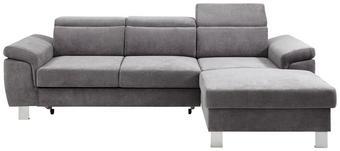WOHNLANDSCHAFT Bettkasten, Kopfteilverstellung, Schlaffunktion - Silberfarben/Grau, Design, Textil/Metall (250/167cm) - Xora