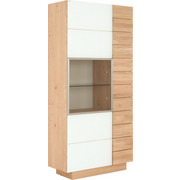 VITRINE Wildeiche massiv, mehrschichtige Massivholzplatte (Tischlerplatte) Weiß, Eichefarben  - Eichefarben/Weiß, Design, Glas/Holz (96/202/42.5cm) - Voglauer