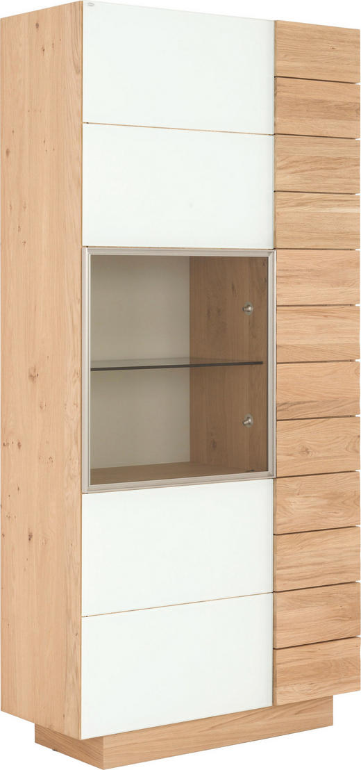 VITRINE Wildeiche massiv, mehrschichtige Massivholzplatte (Tischlerplatte) Eichefarben, Weiß - Eichefarben/Weiß, Design, Glas/Holz (96/202/42.5cm) - Voglauer