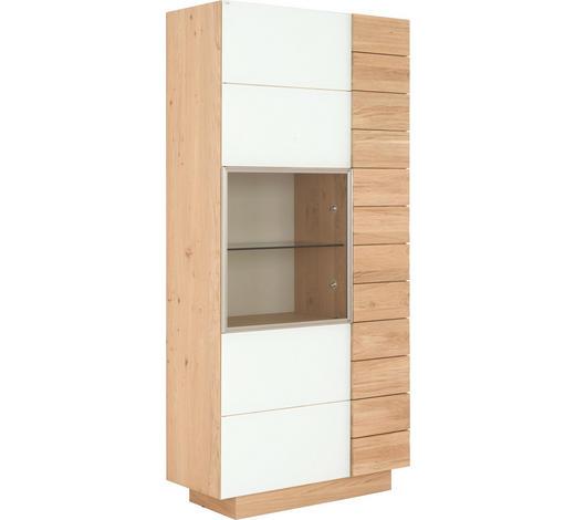 VITRINE in massiv, mehrschichtige Massivholzplatte (Tischlerplatte) Wildeiche Weiß, Eichefarben  - Eichefarben/Weiß, Design, Glas/Holz (96/202/42.5cm) - Voglauer