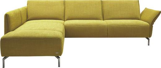 WOHNLANDSCHAFT in Textil Gelb - Edelstahlfarben/Gelb, Design, Textil/Metall (207/274cm)