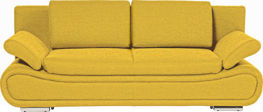 SOFA Gelb - Chromfarben/Gelb, Design, Textil/Metall (210/84/90cm) - NOVEL