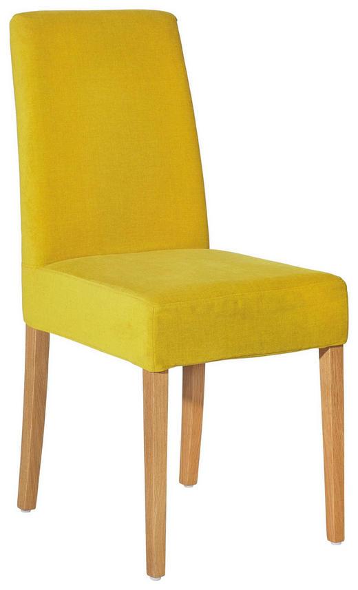 STUHL Velours Eiche massiv Eichefarben, Gelb - Eichefarben/Gelb, Design, Holz/Textil (46/96/63cm) - Musterring
