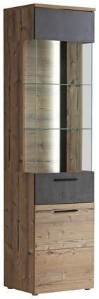 VITRINE in Dunkelgrau, Fichtefarben - Fichtefarben/Dunkelgrau, Design, Glas/Holzwerkstoff (50,2/204/41,3cm) - Carryhome