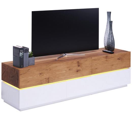 Lowboard in furniert Eiche Weiß, Eichefarben - Eichefarben/Weiß, Design, Holz/Holzwerkstoff (160/45/41,5cm) - Novel