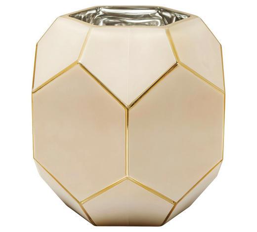VASE 22 cm - Goldfarben/Creme, Trend, Glas (23/22/23cm) - Kare-Design