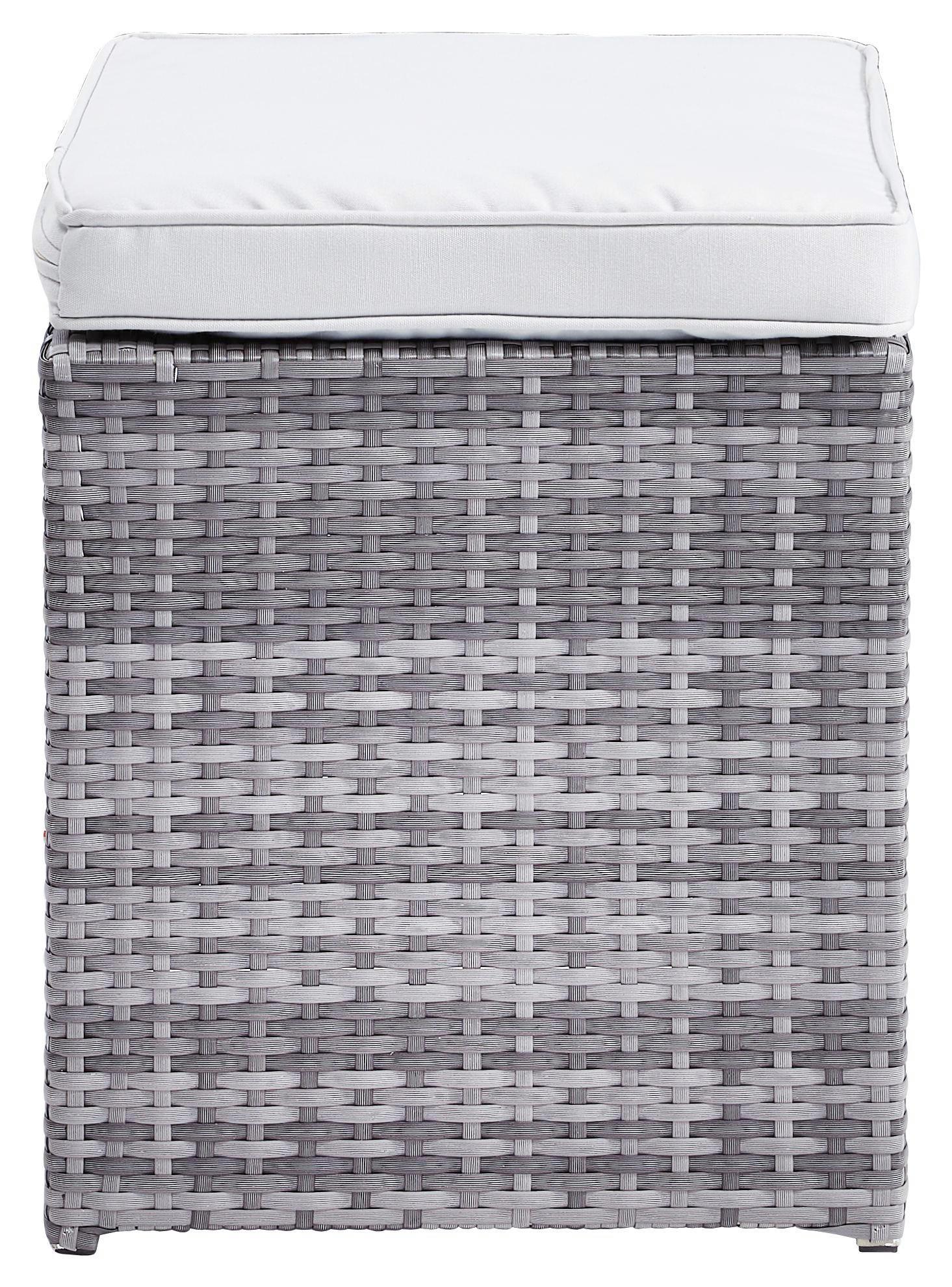 HOCKER Grau, Hellgrau - Hellgrau/Grau, Design, Kunststoff/Textil (40/43/40cm) - AMBIA GARDEN