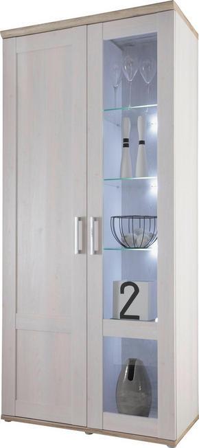 VITRINSKÅP - vit/lärkfärgad, Klassisk, glas/träbaserade material (93/202/46cm) - Carryhome