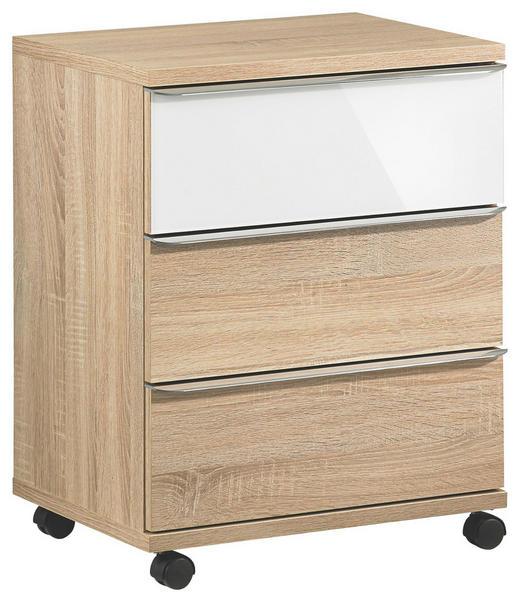 ROLLCONTAINER Sonoma Eiche, Weiß - Chromfarben/Weiß, Design, Glas/Kunststoff (51/65/40cm) - MODERANO