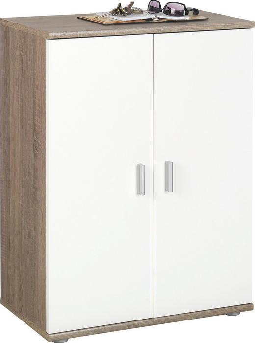 KOMMODE Eichefarben, Weiß - Eichefarben/Silberfarben, KONVENTIONELL, Holzwerkstoff/Kunststoff (60/82/35cm)