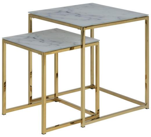 COUCHTISCHSET in Metall, Glas 45/45/50 cm - Goldfarben/Weiß, MODERN, Glas/Metall (45/45/50cm) - Ambia Home