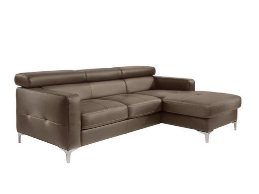 Ecksofa Braun Lederlook - Chromfarben/Braun, Design, Textil/Metall (226/169cm) - Carryhome
