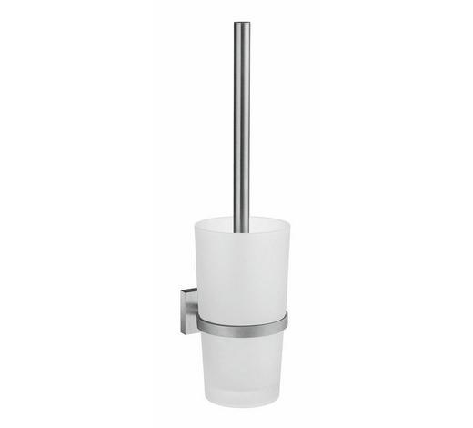 WC-BÜRSTENGARNITUR in Metall - Chromfarben/Weiß, Basics, Glas/Kunststoff (38cm)