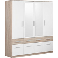 KLEIDERSCHRANK 4-türig Sonoma Eiche, Weiß - Alufarben/Weiß, Design, Glas/Holzwerkstoff (180/198/55cm) - Carryhome