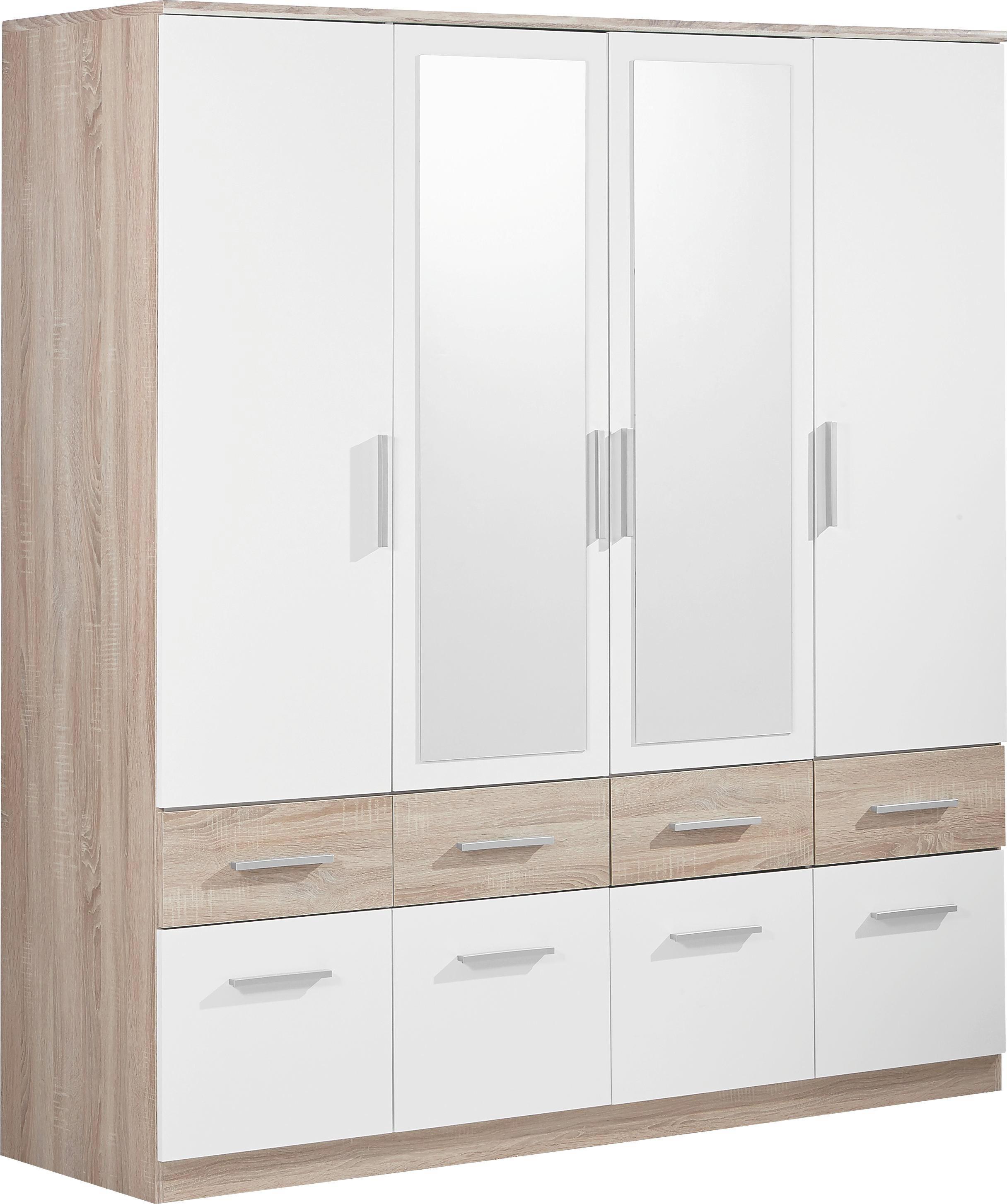 Kleiderschrank  Großer Kleiderschrank in Weiß mit Spiegel