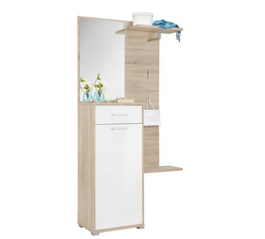 ŠATNA - bílá/barvy dubu, Design, kompozitní dřevo (100/196/37cm) - Carryhome