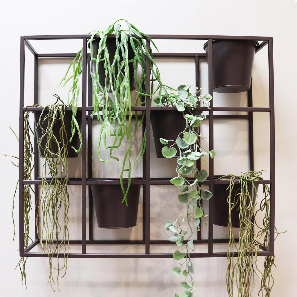 Blumentopf-Paravent aus Metall, anthrazit