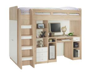 Sängsystem - vit/Sonoma ek, Klassisk, träbaserade material (90/200cm) - Low Price