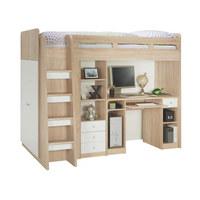 VYSOKÁ POSTEL - bílá/Sonoma dub, Konvenční, dřevěný materiál (90/200cm) - Carryhome