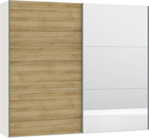 SCHWEBETÜRENSCHRANK 2-türig Eichefarben, Weiß - Eichefarben/Silberfarben, Design, Glas/Holzwerkstoff (252,8/220/65cm) - Jutzler