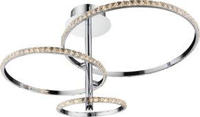 LED-TAKLAMPA - kromfärg/transparent, Design, metall/glas (45/41cm) - Ambiente
