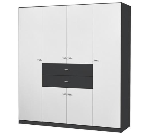 KLEIDERSCHRANK 6-türig Grau, Weiß  - Silberfarben/Weiß, Design, Holzwerkstoff/Kunststoff (181/197/54cm) - Carryhome