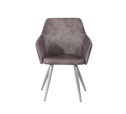 ARMLEHNSTUHL Lederlook Braun, Silberfarben  - Silberfarben/Braun, Trend, Textil/Metall (63,5/87/59cm) - Hom`in
