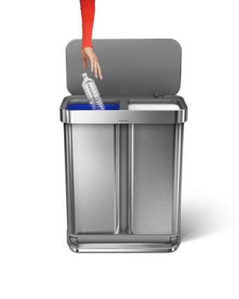 KOŠ ZA OTPAD - bijela/boje srebra, Konvencionalno, metal/plastika (58l) - Simplehuman