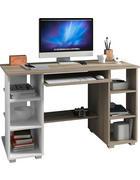 RAČUNALNIŠKA MIZA leseni material bela, hrast sonoma  - bela/hrast sonoma, Design, leseni material (120/75/55cm) - Boxxx