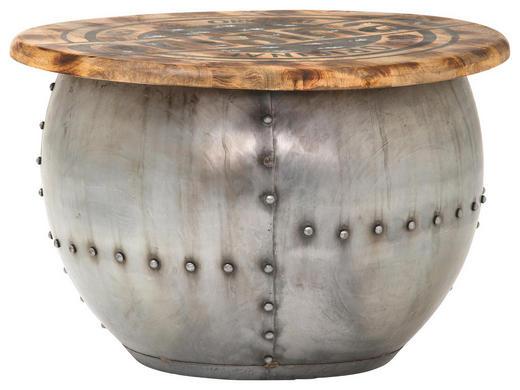 COUCHTISCH Mangoholz massiv rund Braun, Silberfarben - Silberfarben/Braun, Design, Holz/Metall (69/42cm) - Carryhome