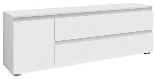 LOWBOARD foliert, Melamin Weiß - Silberfarben/Weiß, KONVENTIONELL (160/55/40cm) - Carryhome