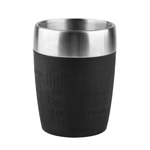 ISOLIERBECHER - Edelstahlfarben/Schwarz, Basics, Kunststoff/Metall (0,2l) - Emsa