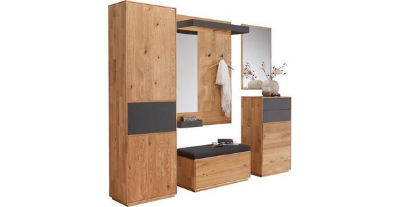 SCHUHSCHRANK Eiche massiv gebürstet Anthrazit, Eichefarben  - Eichefarben/Anthrazit, Design, Glas/Holz (60/105/38cm) - Valnatura