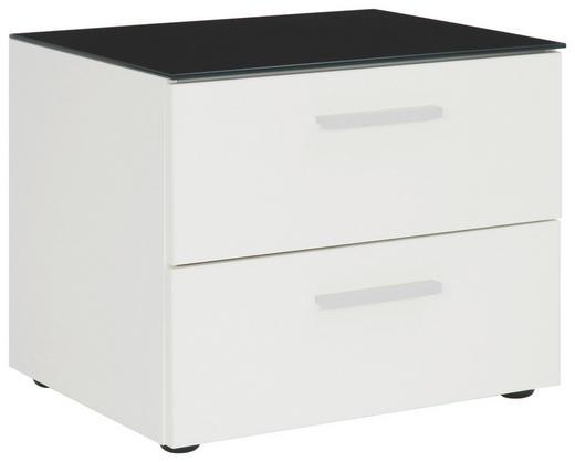 NACHTKÄSTCHEN Schwarz, Weiß - Schwarz/Alufarben, Design, Glas/Kunststoff (50/41/41cm) - Xora