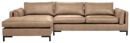 WOHNLANDSCHAFT in Textil Hellbraun  - Hellbraun/Schwarz, Design, Textil/Metall (160/295cm) - Hom`in