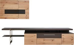 WOHNWAND Balkeneiche furniert, Hartholz Braun, Eichefarben - Edelstahlfarben/Eichefarben, Design, Glas/Holz (295/181/56cm) - DIETER KNOLL