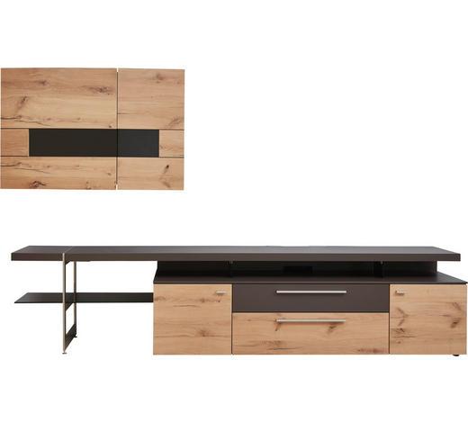 WOHNWAND in Braun, Eichefarben  - Edelstahlfarben/Eichefarben, Design, Glas/Holz (295/181/56cm) - Dieter Knoll