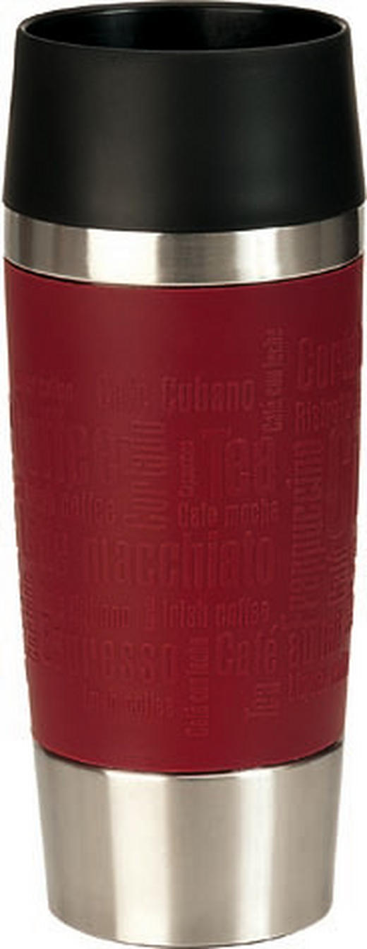 ISOLIERBECHER - Edelstahlfarben/Rot, Basics, Kunststoff/Metall (0,36l) - EMSA