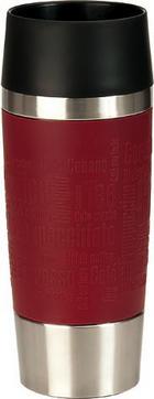 ISOLIERBECHER 0,36 l - Edelstahlfarben/Rot, KONVENTIONELL, Kunststoff/Metall (0,36l) - EMSA