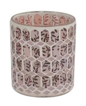 VÄRMELJUSGLAS - vit/rosa, Trend, glas (9,5/10cm) - Ambia Home