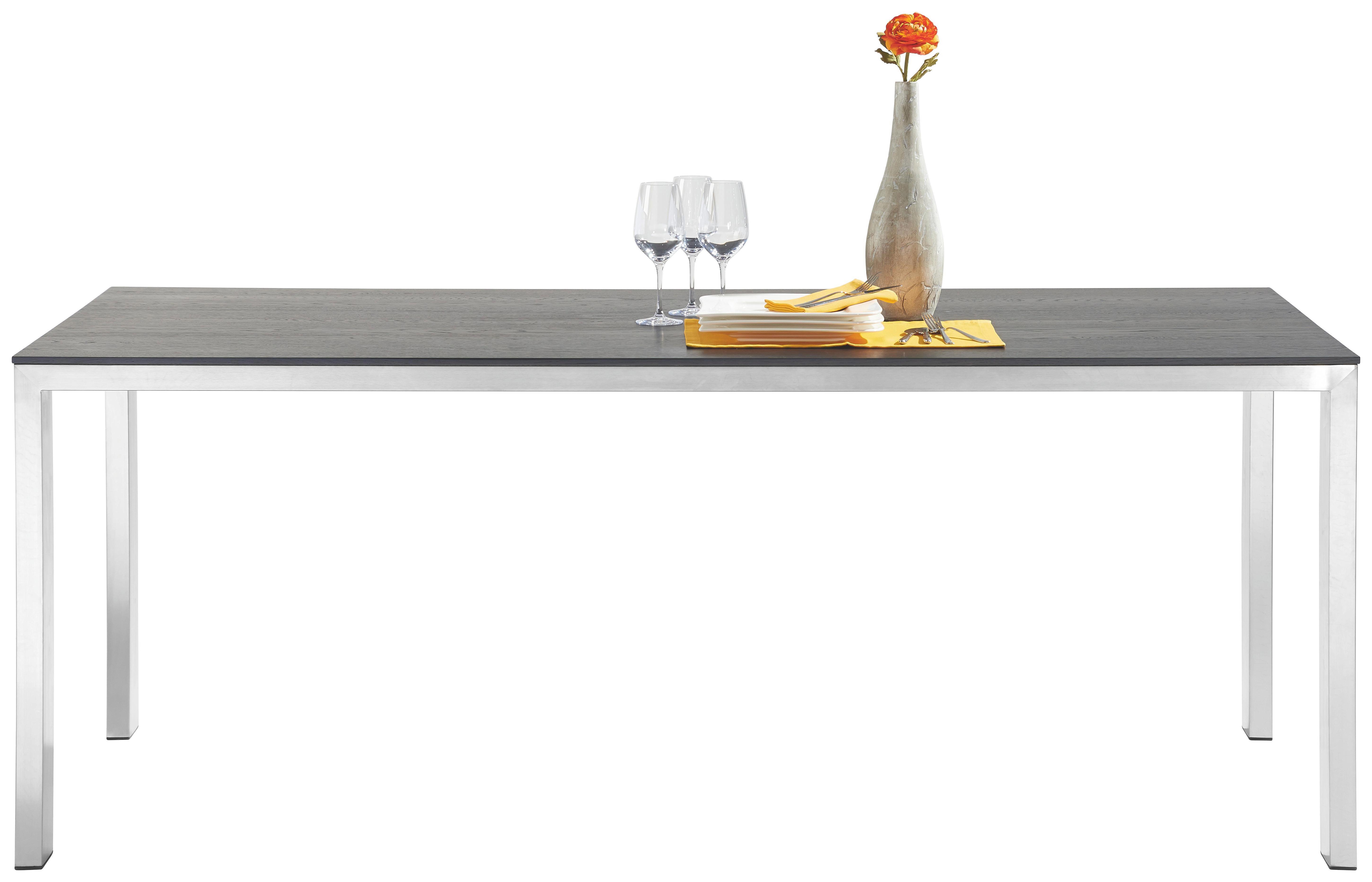 ESSTISCH Eiche massiv rechteckig Edelstahlfarben, Eichefarben - Edelstahlfarben/Eichefarben, Design, Holz/Metall (200/100cm) - MUSTERRING