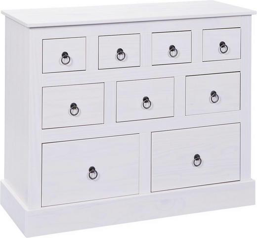 KOMMODE Kiefer massiv lackiert Weiß - Weiß, LIFESTYLE, Holz/Metall (100/80/39cm) - Carryhome
