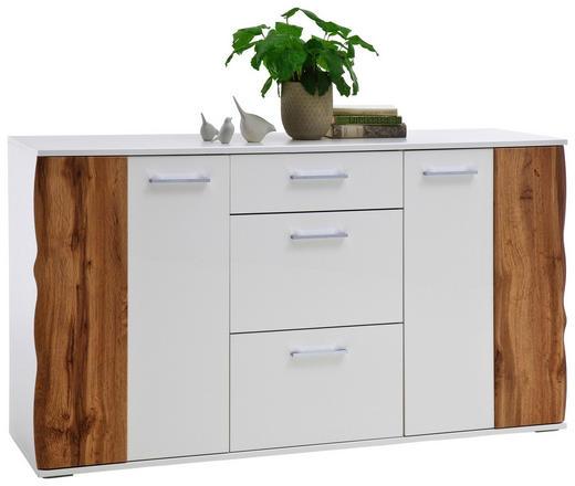 KOMMODE Eichefarben, Weiß - Chromfarben/Eichefarben, Design, Holzwerkstoff/Kunststoff (154/86/44cm)