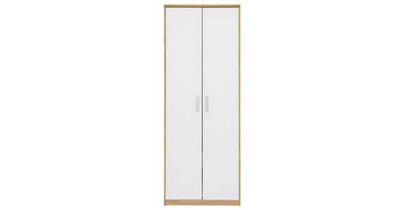 MEHRZWECKSCHRANK in Weiß, Eichefarben  - Eichefarben/Silberfarben, KONVENTIONELL, Holzwerkstoff/Kunststoff (72/194/36cm) - Xora