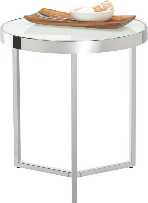 BEISTELLTISCH rund Chromfarben, Weiß - Chromfarben/Weiß, Basics, Glas/Metall (42,5/46cm) - Xora
