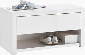 HALLBÄNK - vit, Design, träbaserade material (84,2/44,4/42cm) - Voleo
